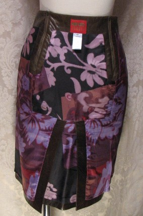 1980s Vintage Kenzo Jungle lambskin leather skirt (5)
