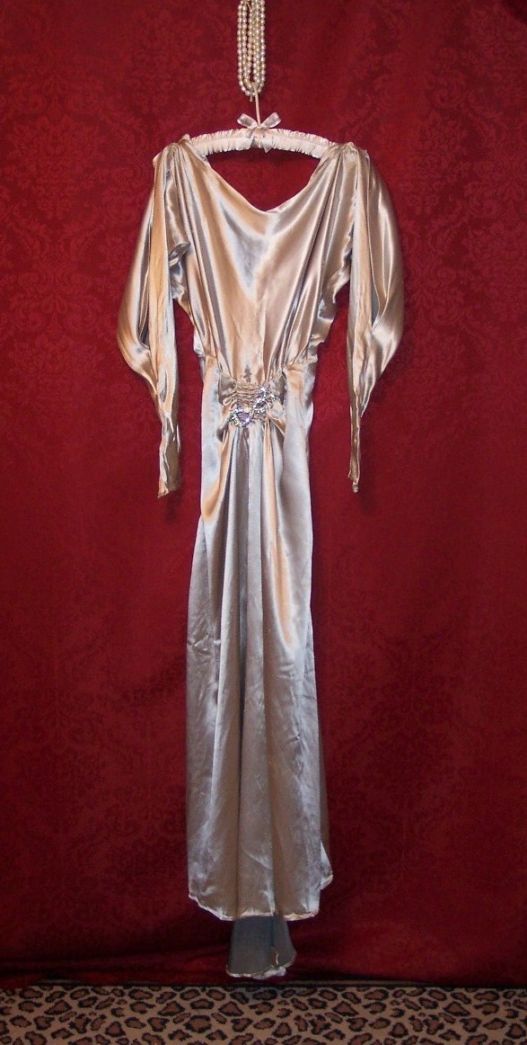 Art Deco 1930s Satin Evening Gown Wmca Rhinestone Buckle 2