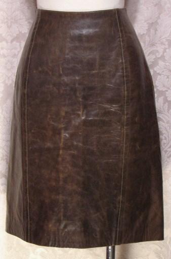 1980s Vintage Kenzo Jungle lambskin leather skirt (2)