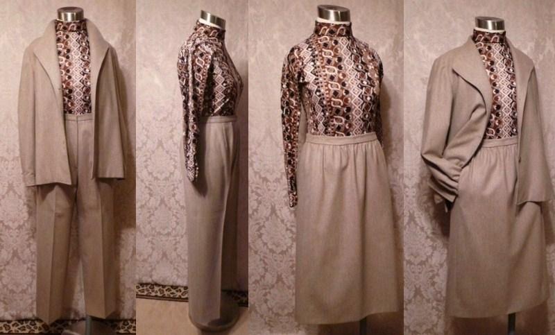 1970s Vintage Halston 3 piece khaki wool suit jacket skirt pants .JPG