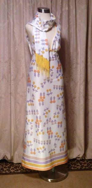 Julie Miller California 1970s vintage halter dress & scarf (2)
