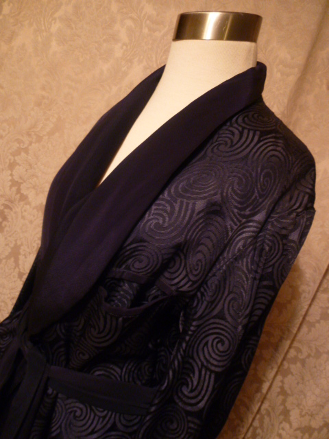 Mens Vintage Navy Blue Silk Dressing Gown From Shepards Mens