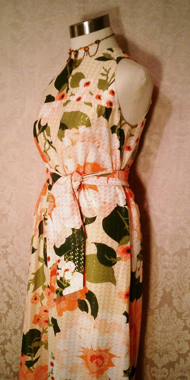 Herbert Laurence vintage 1960s 1970s long floral maxi gown dress (5)