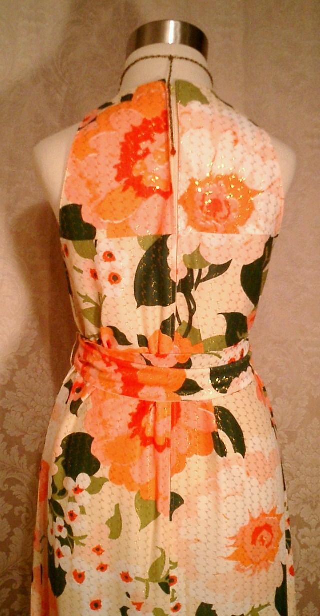 Herbert Laurence vintage 1960s 1970s long floral maxi gown dress (7)