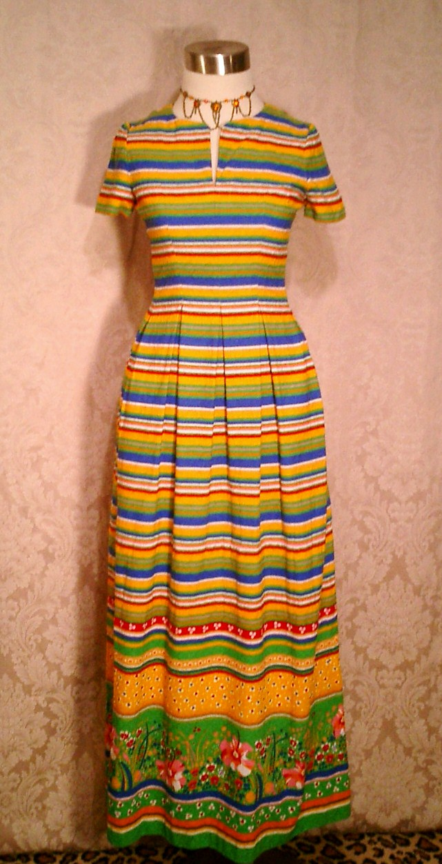 Vintage 1960s 1970s Vibrant Stripes & Floral Print Maxi Dress (2)