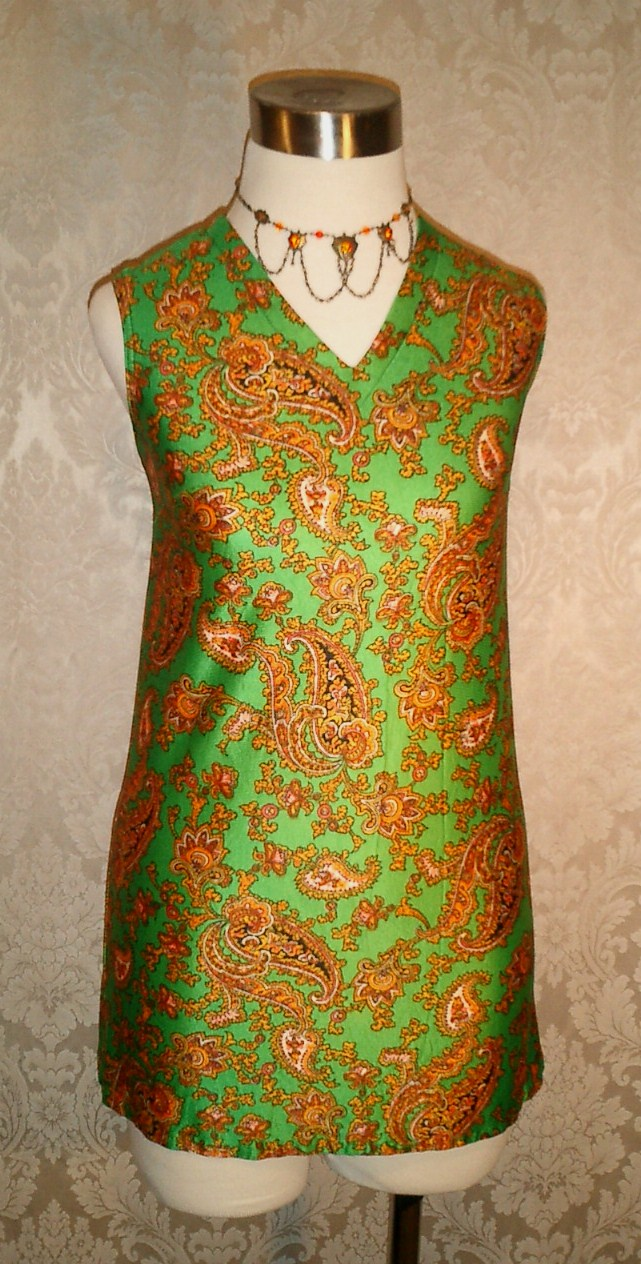 Vintage 1960s green & gold paisley jersey mini dress