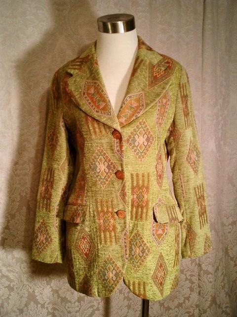 Vintage Henri Bendel New York tapestry velvet brocatelle green blazer (5)