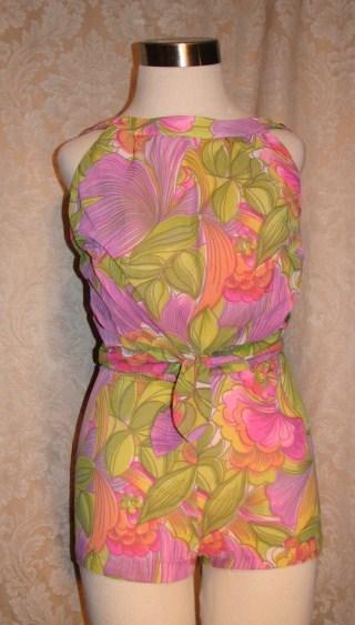 Vintage 1960s Haute Couture Collection Sea Queen bathing swim suit lavender lime floral  (2)