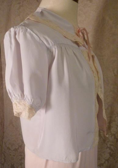 1940s Lingerie by Debutante lavender blue  silk & lace boudoir bed jacket (16)