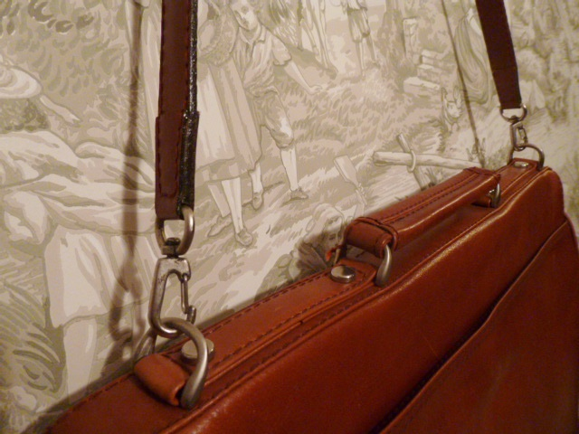 MEB Collection Cognac Leather double gusset briefcase (8)