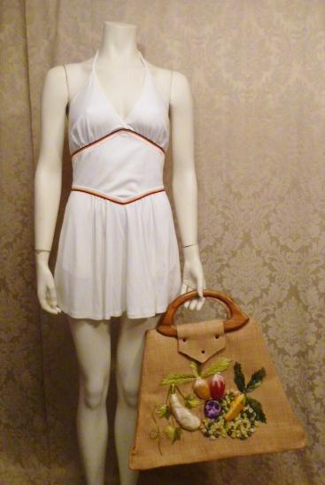 Vintage 1960s Mister Ernest Simon straw beach market bag  tutti frutti design (4)