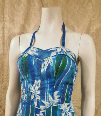 1950's Vintage Tropical Halter Sun  Swim  Play Suit  Romper  (2)