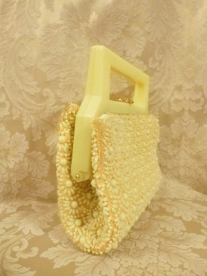 Vintage 1950's Buttercup Yellow Beaded Daisy Purse Handmade in Hong Kong (7)