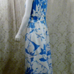 Vintage 1980s Arnold Scaasi Blue & White Floral Evening Gown & Bolero  (5)