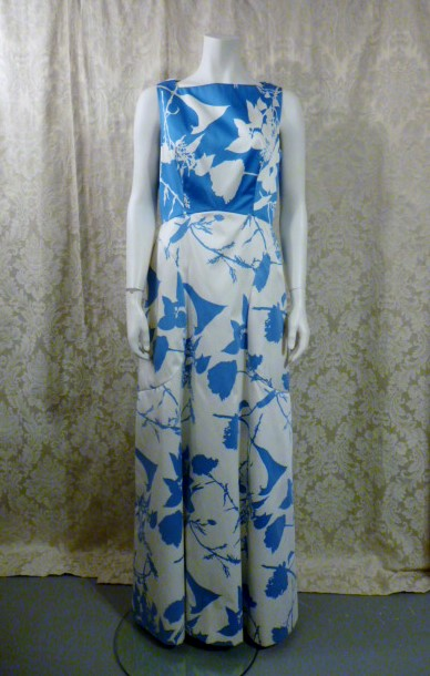 Vintage 1980s Arnold Scaasi Blue & White Floral Evening Gown & Bolero  (4)