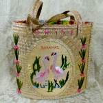 Vintage 1950s 1960s Bahamas woven embroidered pink pelicans straw souvenir bag (9)