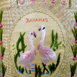 Vintage 1950s 1960s Bahamas woven embroidered pink pelicans straw souvenir bag (8)