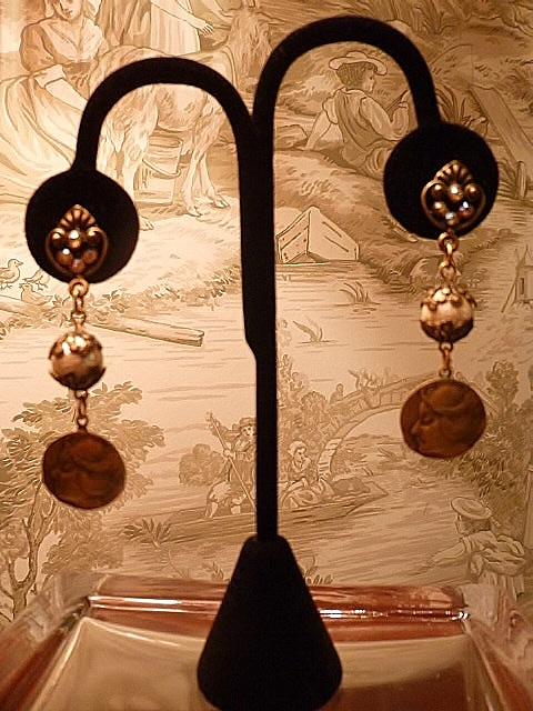 Vintage Banana Bob art nouveau etched lady mother of pearl filigree dangle earrings (1)