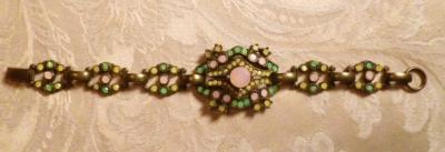 Vintage Banana Bob Art Deco Style Pink Green & Gold Opal Swarovski Crystal Bracelet   (4)