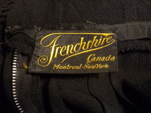 1930's Vintage Frenchshire Montreal Black Crepe Sheer Beaded Neckline Evening Gown