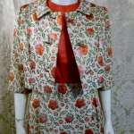 St. Regis Room Simpson's 1960s Vintage floral lame' silk damask brocade evening gown & bolero jacket (2)