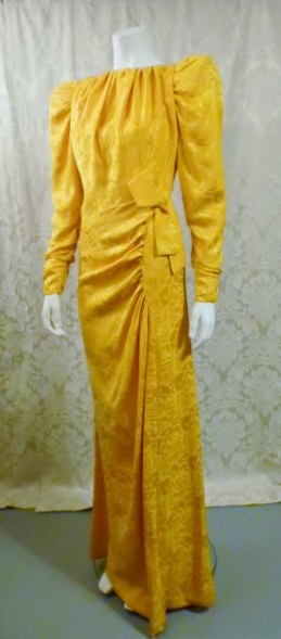 1980s vintage Arnold Scaasi marigold yellow gold silk evening gown (4)