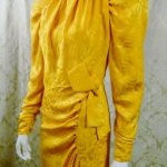 1980s vintage Arnold Scaasi marigold yellow gold silk evening gown (5)