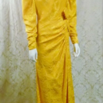 1980s vintage Arnold Scaasi marigold yellow gold silk evening gown (3)