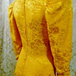 1980s vintage Arnold Scaasi marigold yellow gold silk evening gown (7)