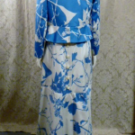 Vintage 1980s Arnold Scaasi Blue & White Floral Evening Gown & Bolero  (9)