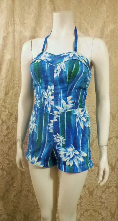 1950's Vintage Tropical Halter Sun  Swim  Play Suit  Romper  (1)