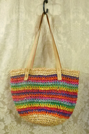 1980's Vintage Rainbow Striped Woven Sisal Straw Tote  Market  Beach Bag (2)