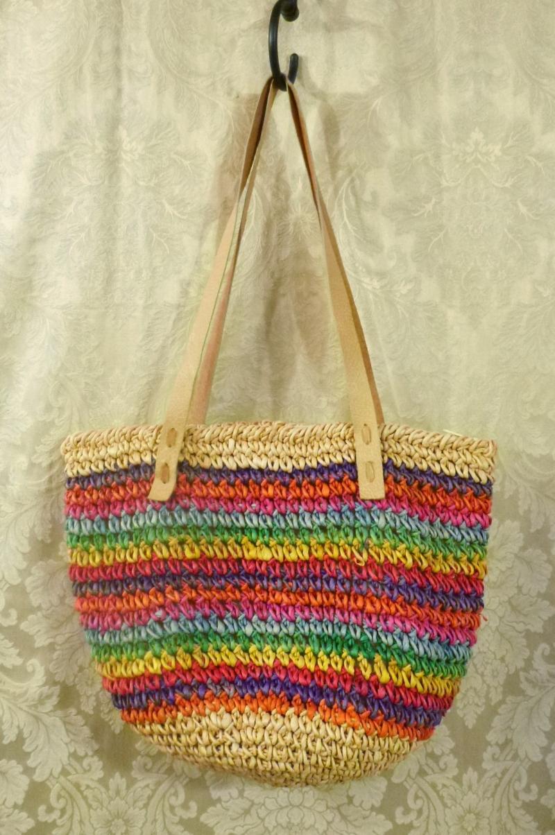 1980's Vintage Rainbow Striped Woven Sisal Straw Tote  Market  Beach Bag (2)