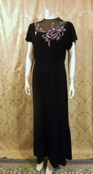 1930's Vintage Frenchshire Montreal Black Crepe Sheer Beaded Neckline Evening Gown (12)