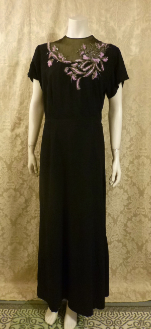 1930's Vintage Frenchshire Montreal Black Crepe Sheer Beaded Neckline Evening Gown (1)