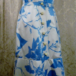 Vintage 1980s Arnold Scaasi Blue & White Floral Evening Gown & Bolero  (2)