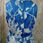 Vintage 1980s Arnold Scaasi Blue & White Floral Evening Gown & Bolero  (1)