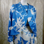 Vintage 1980s Arnold Scaasi Blue & White Floral Evening Gown & Bolero  (13)