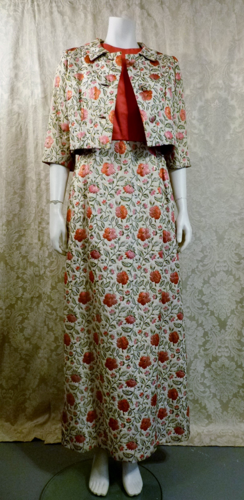 St. Regis Room Simpson's 1960s Vintage floral lame' silk damask brocade evening gown & bolero jacket (1)