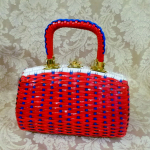 Vintage 1950s 1960s red white blue vinyl woven basket box purse (3)