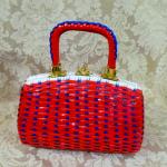 Vintage 1950s 1960s red white blue vinyl woven basket box purse (3)