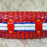 Vintage 1950s 1960s red white blue vinyl woven basket box purse (5)