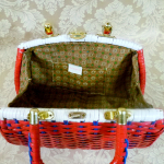 Vintage 1950s 1960s red white blue vinyl woven basket box purse (4)