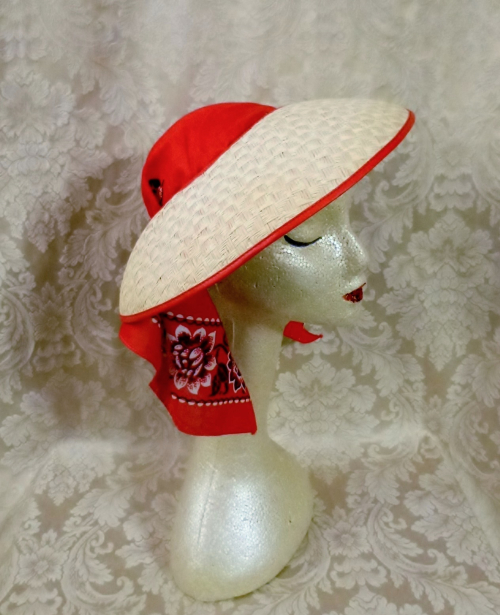 Vintage 1940s open crown straw visor hat by sun bonnie babushka red bandana scarf (18)