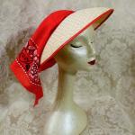 Vintage 1940s open crown straw visor hat by sun bonnie babushka red bandana scarf (16)