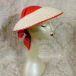 Vintage 1940s open crown straw visor hat by sun bonnie babushka red bandana scarf (12)