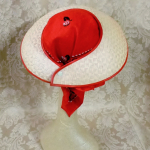 Vintage 1940s open crown straw visor hat by sun bonnie babushka red bandana scarf (13)