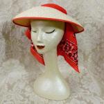 Vintage 1940s open crown straw visor hat by sun bonnie babushka red bandana scarf (19)