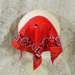 Vintage 1940s open crown straw visor hat by sun bonnie babushka red bandana scarf (17)