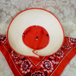 Vintage 1940s open crown straw visor hat by sun bonnie babushka red bandana scarf  (5)